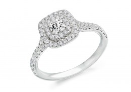 18ct White Gold Cushion Cut Diamond Double Halo Ring 0.73ct