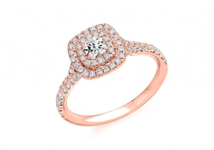 18ct Rose Gold Cushion Cut Diamond Double Halo Ring 0.73ct