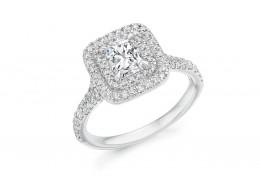 18ct White Gold Radiant & Round Brilliant Cut Diamond Halo Ring 1.20ct