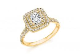 18ct Yellow Gold Radiant & Round Brilliant Cut Diamond Halo Ring 1.20ct
