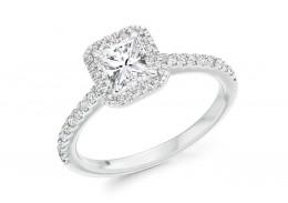 18ct White Gold Radiant Cut Diamond Halo Ring 0.81ct