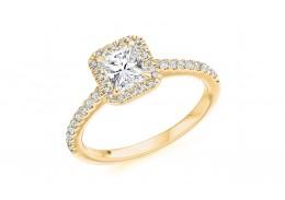 18ct Yellow Gold Radiant Cut Diamond Halo Ring 0.81ct