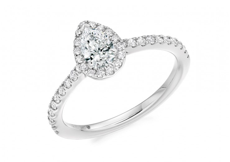 18ct White Gold Pear Cut Diamond Halo Ring 0.70ct