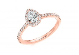 18ct Rose Gold Pear Cut Diamond Halo Ring 0.68ct