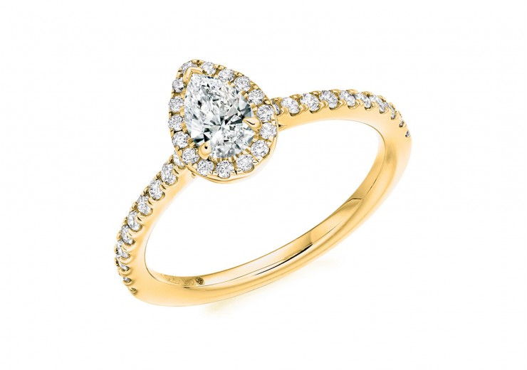 18ct Yellow Gold Pear Cut Diamond Halo Ring 0.68ct