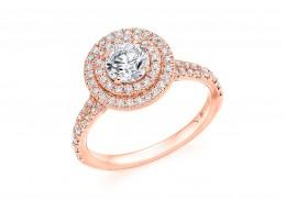 18ct Rose Gold Round Brilliant Diamond Double Halo Ring 1.20ct
