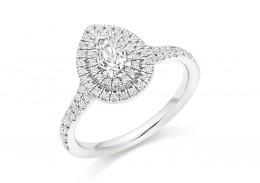 18ct White Gold Pear & Round Brilliant Cut Diamond Halo Ring 0.75ct