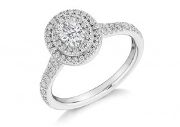18ct White Gold Oval Cut Diamond Double Halo Ring 0.80ct