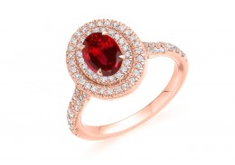 18ct Rose Gold Ruby & Diamond Oval & Round Brilliant Cut Cluster Ring 1.41ct