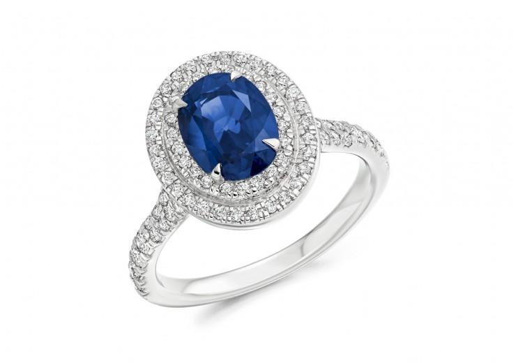 18ct White Gold Sapphire & Diamond Oval & Round Brilliant Cut Cluster Ring 2.85ct
