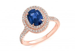 18ct Rose Gold Sapphire & Diamond Oval & Round Brilliant Cut Cluster Ring 2.85ct