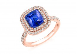 18ct Rose Gold Tanzanite & Diamond Radiant & Round Brilliant Cut Cluster Ring 3.41ct