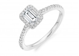18ct White Gold Emerald Cut Diamond Halo Ring 0.68ct