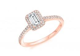 18ct Rose Gold Emerald Cut Diamond Halo Ring 0.68ct