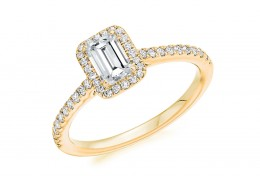 18ct Yellow Gold Emerald Cut Diamond Halo Ring 0.68ct