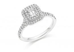 18ct White Gold Emerald Cut Diamond Double Halo Ring 0.75ct