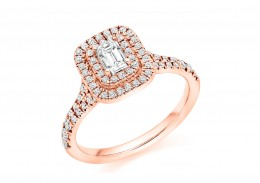 18ct Rose Gold Emerald Cut Diamond Double Halo Ring 0.75ct