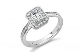18ct White Gold Emerald & Round Brilliant Cut Diamond Halo Ring 0.55ct
