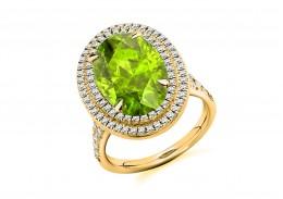 18ct Yellow Gold Peridot & Diamond Oval & Round Brilliant Cut Cluster Ring 7.10ct