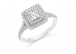 18ct White Gold Princess Cut Diamond Double Halo Ring 1ct