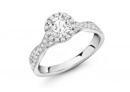 18ct White Gold Round Brilliant Cut Diamond Halo Ring 1.30ct