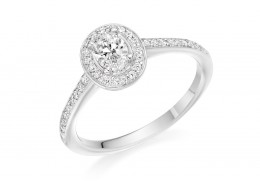 18ct White Gold Oval & Round Brilliant Cut Diamond Halo Ring 0.55ct