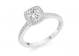 18ct White Gold Cushion & Round Brilliant Cut Diamond Halo Ring 0.79ct