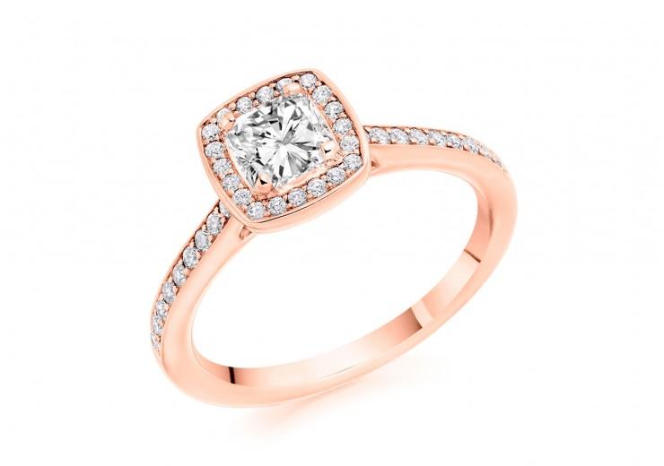 18ct Rose Gold Cushion & Round Brilliant Cut Diamond Halo Ring 0.79ct