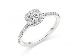18ct White Gold Round Brilliant Cut Diamond Halo Ring 0.65ct