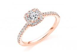 18ct Rose Gold Round Brilliant Cut Diamond Halo Ring 0.65ct