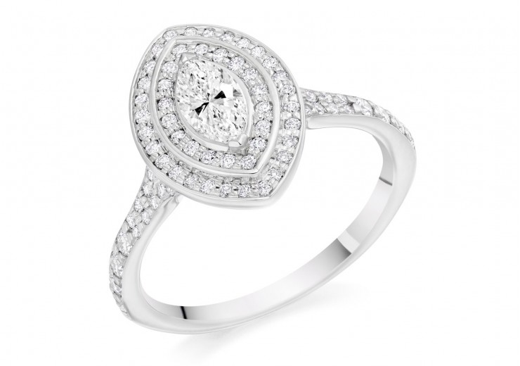 18ct White Gold Marquise Cut Diamond Double Halo Ring 0.70ct
