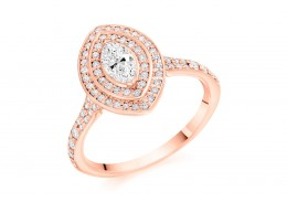 18ct Rose Gold Marquise Cut Diamond Double Halo Ring 0.70ct