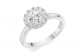 18ct White Gold Round Brilliant Cut Diamond Solitaire Halo Ring 0.85ct