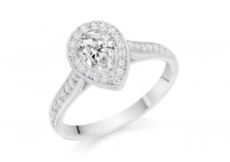 18ct White Gold Pear & Round Brilliant Cut Diamond Halo Ring 0.85ct