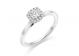 18ct White Gold Cushion & Round Brilliant Cut Diamond Halo Ring 0.54ct