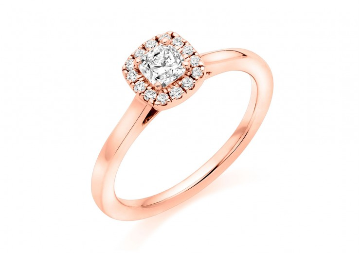 18ct Rose Gold Cushion & Round Brilliant Cut Diamond Halo Ring 0.54ct