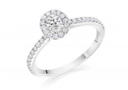 18ct White Gold Oval Cut Diamond Halo Ring 0.59ct