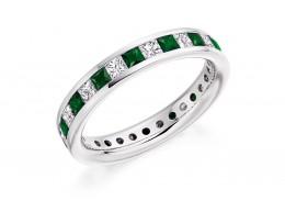 18ct White Gold Emerald & Diamond Princess Cut Full Eternity Ring 2.21ct