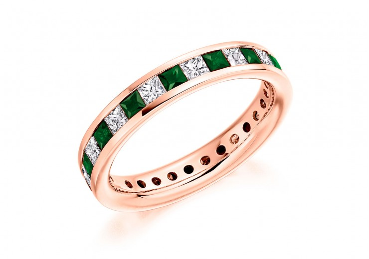 18ct Rose Gold Emerald & Diamond Princess Cut Full Eternity Ring 2.21ct