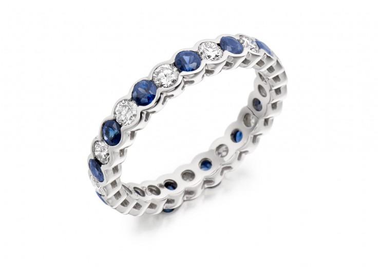 18ct White Gold Sapphire & Diamond Round Brilliant Cut Full Eternity Ring 1.89ct