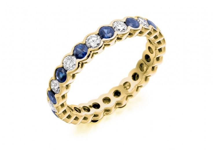 18ct Yellow Gold Sapphire & Diamond Round Brilliant Cut Full Eternity Ring 1.89ct