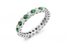 18ct White Gold Emerald & Diamond Round Brilliant Cut Full Eternity Ring 1.89ct