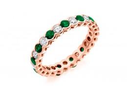 18ct Rose Gold Emerald & Diamond Round Brilliant Cut Full Eternity Ring 1.89ct
