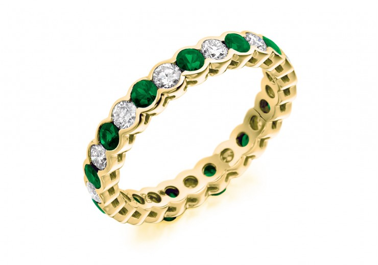 18ct Yellow Gold Emerald & Diamond Round Brilliant Cut Full Eternity Ring 1.89ct