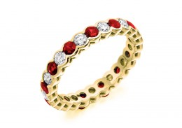 18ct Yellow Gold Ruby & Diamond Round Brilliant Cut Full Eternity Ring 1.89ct