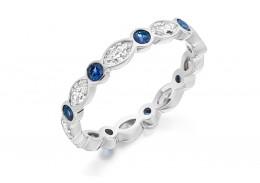 18ct White Gold Sapphire & Diamond Marquise & Round Brilliant Cut Full Eternity Ring 1.28ct
