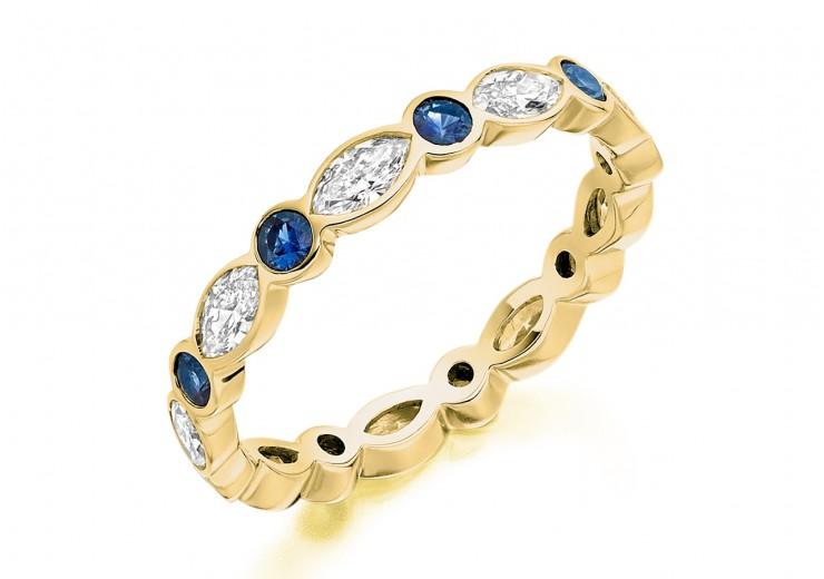 18ct Yellow Gold Sapphire & Diamond Marquise & Round Brilliant Cut Full Eternity Ring 1.28ct