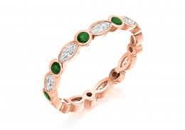 18ct Rose Gold Emerald & Diamond Marquise & Round Brilliant Cut Full Eternity Ring 1.32ct