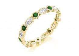18ct Yellow Gold Emerald & Diamond Marquise & Round Brilliant Cut Full Eternity Ring 1.32ct