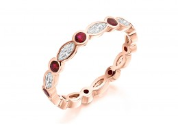 18ct Rose Gold Ruby & Diamond Marquise & Round Brilliant Cut Full Eternity Ring 1.32ct